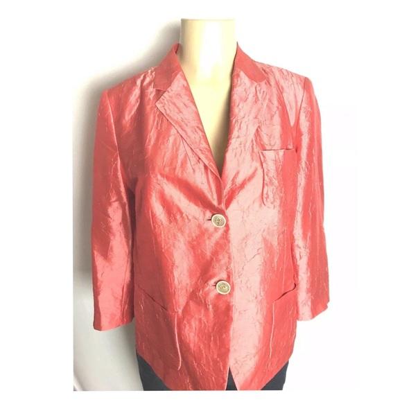 Talbots Jackets & Blazers - Talbots Blazer Size 10 Peach Crush Silk 2 Button
